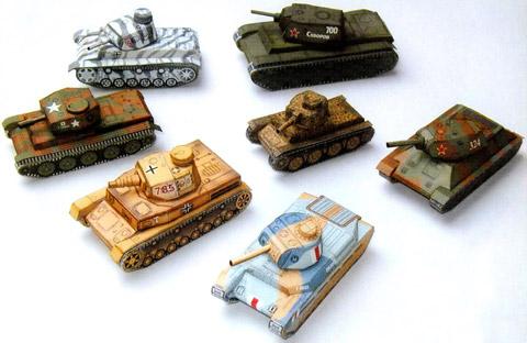 Перед вами 7 довольно простых в изготовлении схем бумажных моделей танков.  Среди них есть бумажная модель танка Т-34.