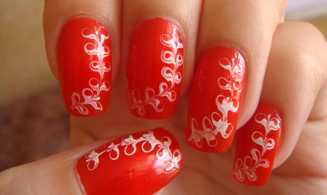 рисунки на ногтях иголкой: